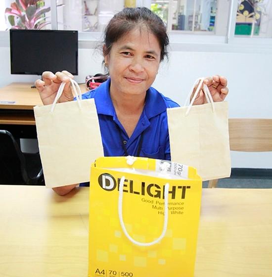 Wasana has made dozens of eco-friendly bags for a hospital.