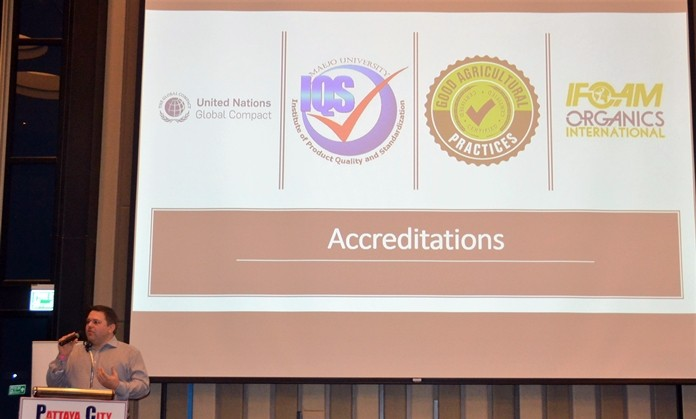 Stuart Prentice shows a slide of symbols used by aquaponics accrediting agencies, such as Good Agriculture Practices (GAP) to denote the aquaponics products from operations that meet their standards.