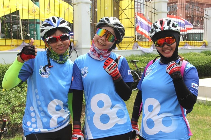 Riders raised almost 100,000 baht on the 30km charity bike ride.