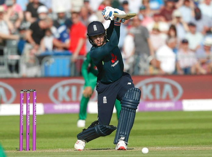England's Jason Roy hits a boundary during the One Day International cricket match against Pakistan at the Bristol County Ground in Bristol, England, Tuesday, May 14, 2019. (David Davies/PA via AP)