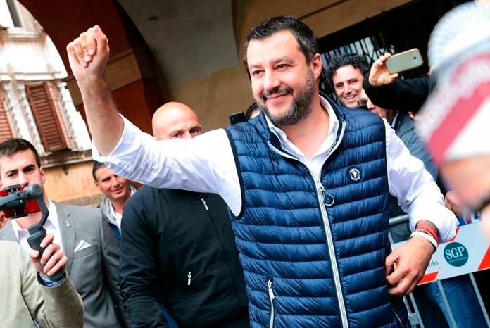 Italian Deputy Premier and Interior Minister, Matteo Salvini, attends an election campaign rally in Sassuolo, Italy, Sunday, May 19, 2019. (Serena Campanini/ANSA via AP)