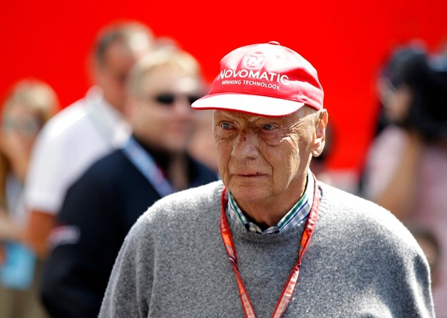 Former Formula One World Champion Niki Lauda of Austria is shown in this July 7, 2018, file photo. (AP Photo/Luca Bruno)