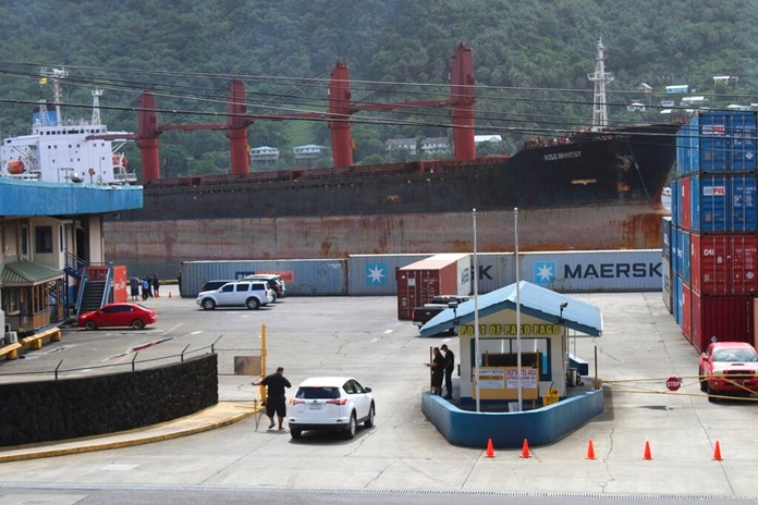 The North Korean cargo ship, Wise Honest, is shown docked at the main docking section of Pago Pago Harbor, Saturday, May 11, 2019, in Pago Pago, American Samoa. (AP Photo/Fili Sagapolutele)