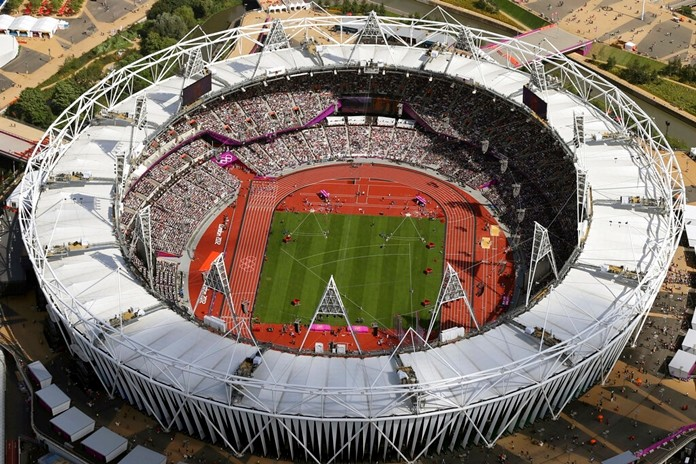 In this Aug. 3, 2012, file photo, Olympic Stadium is viewed during the Summer Olympics at Olympic Park in London. (AP Photo/Jeff J Mitchell, Pool)