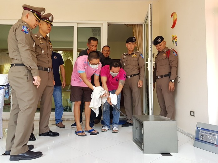 Wasan Panpream, Rachata Kumsart, and accomplice Napaporn Pradub (not shown) have been arrested for the May 4 burglary of an Irishman's house in East Pattaya.