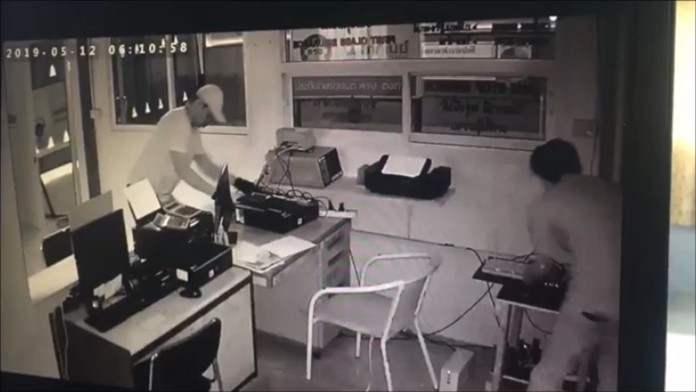 Security cameras recorded the two men ransacking the office before taking a computer, CCTV and vehicle-inspection equipment.