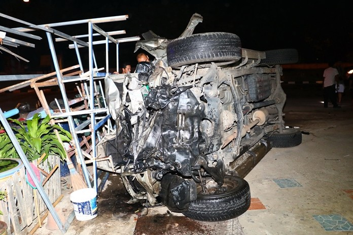 A sailor was killed when his pickup truck was struck by another truck at a U-turn in Sattahip.