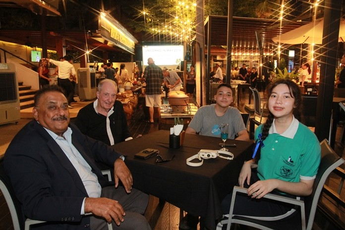 (L to R) Peter Malhotra joins the Corness family, Dr. Iain, Evan and Marisa for an eventful dinner at the Avani hotel's Dicey Reilly's restaurant.