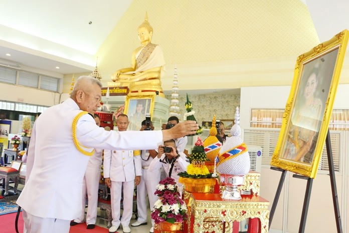 Adm. Noppadol Supakorn, commander-in-chief of the Royal Thai Fleet, presides over the navy's birthday observance.