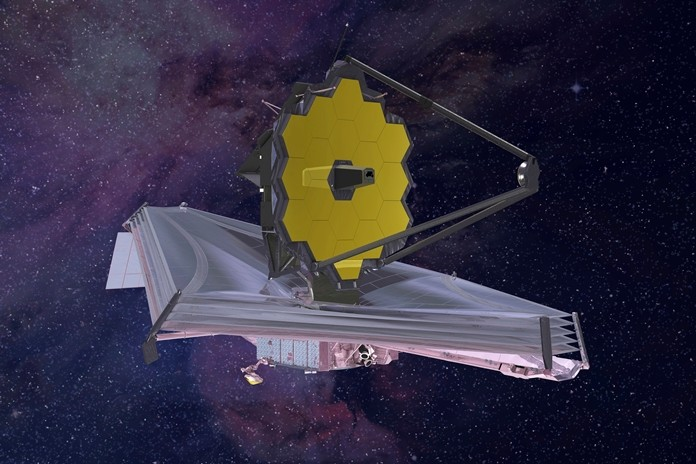 This artist's rendering provided by Northrop Grumman via NASA shows the James Webb Space Telescope. (Northrop Grumman/NASA via AP)