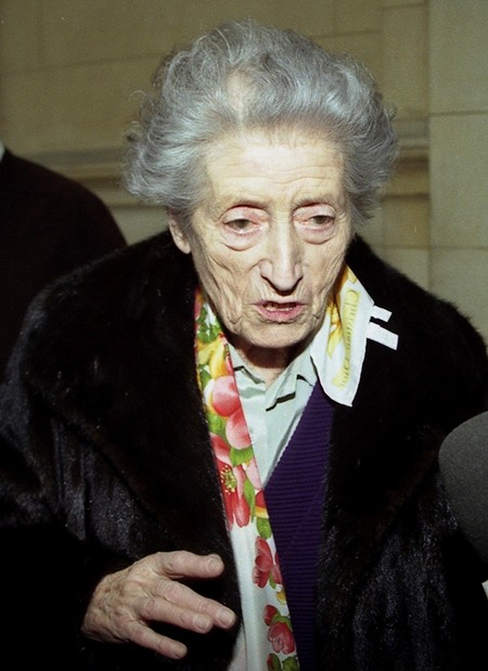 In this March 14, 2007 file photo, Lucie Aubrac, a hero of the French Resistance speaks in Paris. Lucie Aubrac was pregnant when she sprang her husband, Raymond, from Nazi captivity in October 1943. (AP Photo/Michel Euler, file)