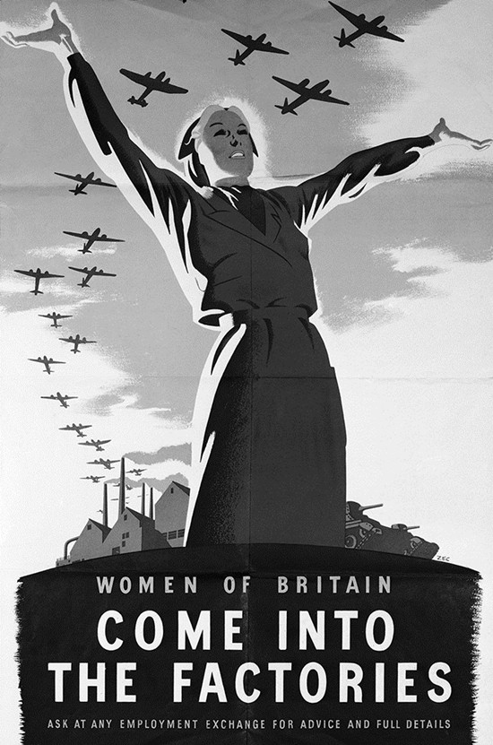This Jan. 8, 1943 file photo shows an appeal for more women workers to enter the war factories of Britain, in London. By keeping production lines humming of planes, tanks and other material, they freed up men sent into combat on World War II fronts. (AP Photo, File)
