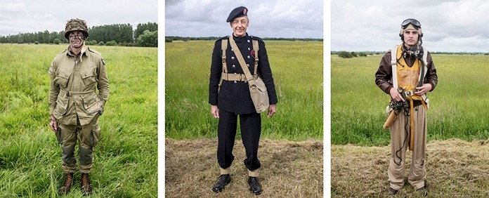 Seen in this combo of images, from left: Allen Triegue, 43, military personnel from Australia, who currently lives in Houston, Texas, Keith Taylor, a 73-year-old retired transport worker, dressed as a World War II fire officer and Curtis Sneddon, 24, from England, dressed head to toe in an expensively assembled U.S. Air force uniform, pose for photos in Carentan, France, on Wednesday, June 5, 2019. The 75th anniversary on Thursday of the D-Day landings in Normandy saw thousands turn up for the commemorations in World War II-era garb. (AP Photo/Rafael Yaghobzadeh)