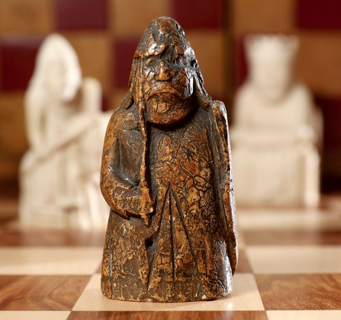 This image shows a newly discovered Lewis Chessman on display at Sotheby's in London. (Tristan Fewings/Sotheby's via AP)