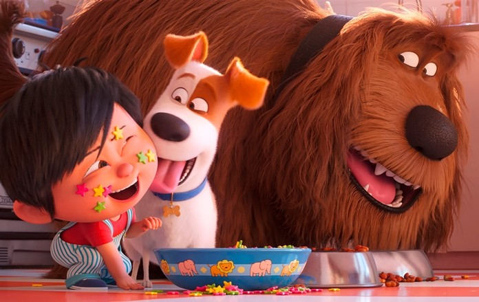 "This image shows Liam, voiced by Henry Lynch, from left, Max, voiced by Patton Oswalt, Duke, voiced by Eric Stonestreet in a scene from ""The Secret Life of Pets 2."" (Illumination Entertainment/Universal Pictures via AP)"