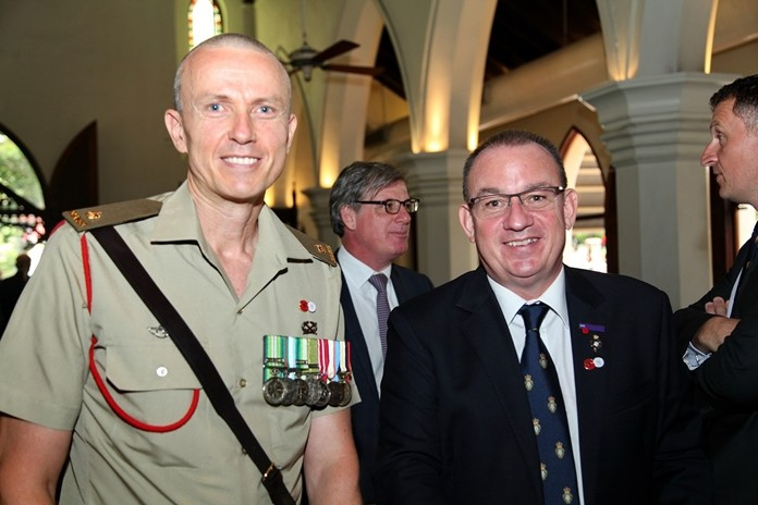 Australian Defence Attaché and Mark Bowling (right), President of the Royal British Legion Thailand.