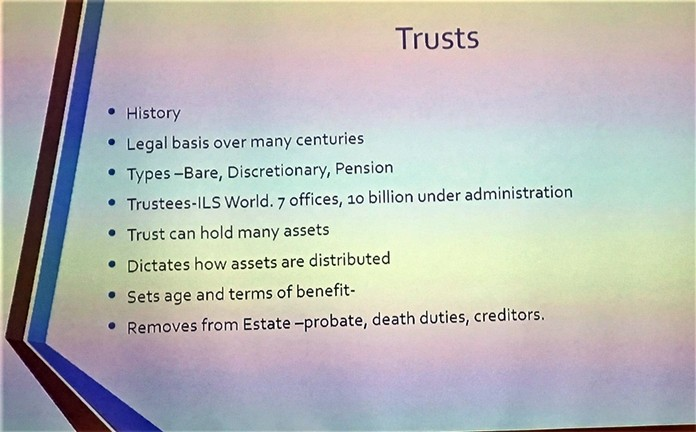 In this slide, Lee Stevens showed information about Trusts and described the benefits of using them to shield ones assets from creditors and the tax man.