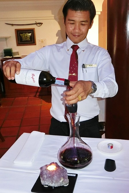 The delicate job of decanting.