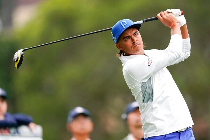 Rickie Fowler watches his tee shot on the second hole during the first round of the U.S. Open Championship golf tournament, Thursday, June 13, 2019, in Pebble Beach, Calif. (AP Photo/Carolyn Kaster)