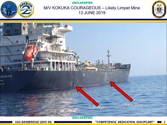 This June 13, 2019, image released by the U.S. military's Central Command, shows damage and a suspected mine on the Kokuka Courageous in the Gulf of Oman near the coast of Iran. (U.S. Central Command via AP)