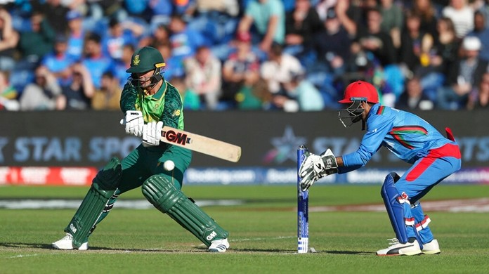 South Africa's Quinton de Kock is shown in action against Afghanistan during the ICC Cricket World Cup group stage match at The Cardiff Wales Stadium in Cardiff, Wales, Saturday June 15, 2019. (David Davies/PA via AP)