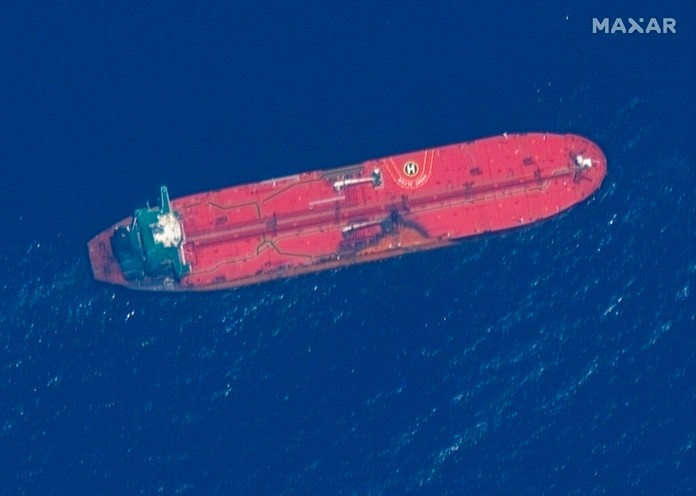 This satellite image shows the oil tanker Front Altair off the coast of Fujairah, United Arab Emirates, Monday, June 17, 2019. (Satellite image ©2019 Maxar Technologies via AP)
