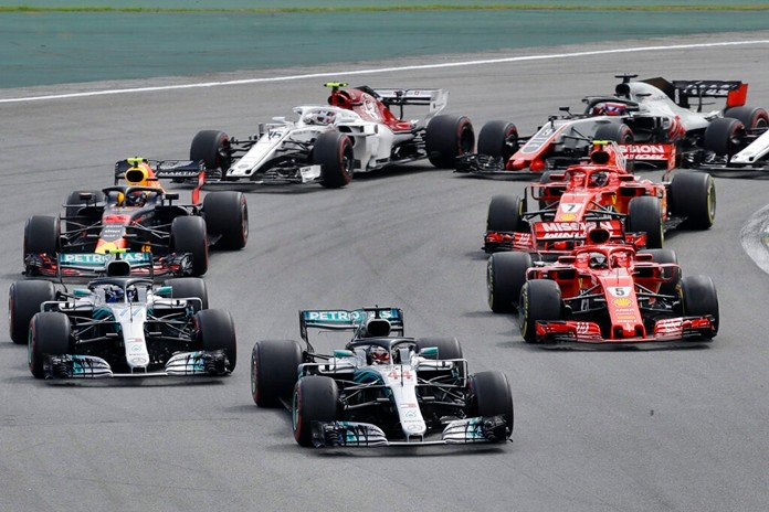 In this Nov. 11, 2018 file photo, Mercedes driver Lewis Hamilton, of Britain, leads the race after the start of the Brazilian Formula One Grand Prix at the Interlagos race track in Sao Paulo, Brazil. (AP Photo/Nelson Antoine)