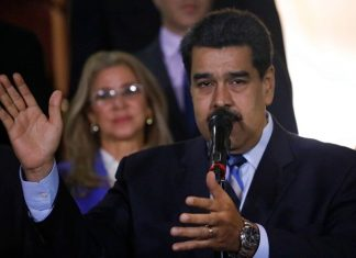 Venezuela's President Nicolas Maduro speaks to the press after a meeting with U.N. High Commissioner for Human Rights Michelle Bachelet at Miraflores Presidential Palace, in Caracas, Venezuela, Friday, June 21, 2019. (AP Photo/Ariana Cubillos)
