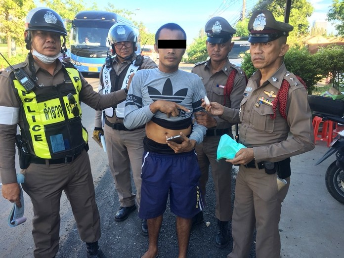 Chatpong Kiewracha, arrested at a Sattahip police checkpoint, pleaded with officers to notify his customers and apologize about the deliveries he'll be unable to make.