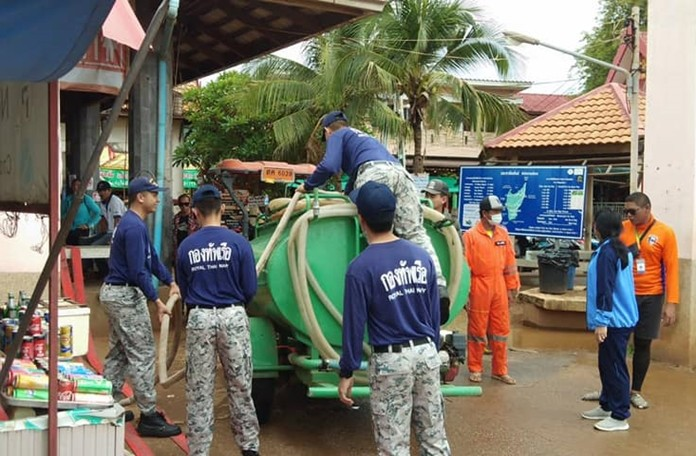 The Royal Thai Navy delivers 50,000 liters of water to drought-hit Koh Larn.