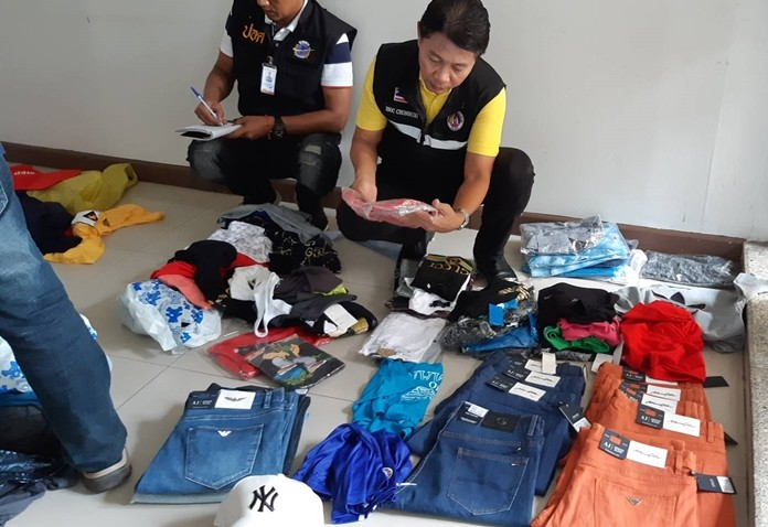 Intellectual property police seized a half-million-baht in pirated goods in a raid on a Pattaya shopping mall.