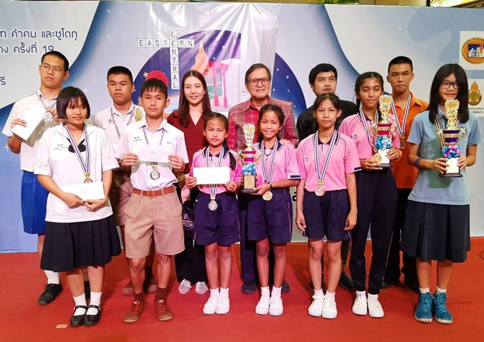 Five migrant children under care of Pattaya's ASEAN Education Center placed in the top five in the Sudoku competition at the Maxploys Central and Eastern Championships in Sriracha June 15.