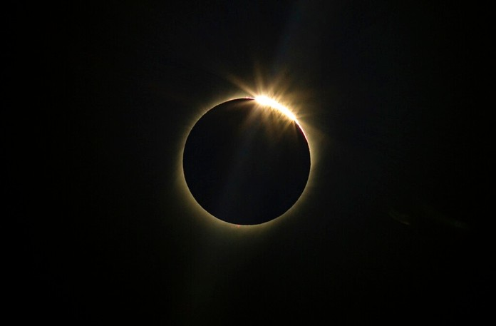 The moon blocks the sun during a total solar eclipse in La Higuera, Chile, Tuesday, July 2, 2019. (AP Photo/Esteban Felix)