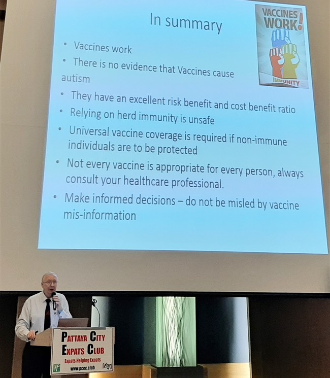 Professor Andy Barraclough summarizes his talk to the PCEC stressing that vaccination works to reduce disease, but for it to work effectively, a large proportion of the population needs to take part. He emphasized that you should rely on the scientific evidence and not fake news and unfounded reports to the contrary.
