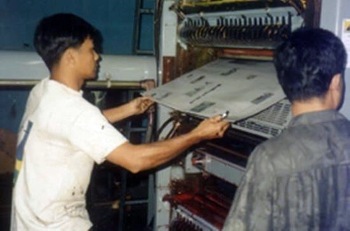 The first page of the first issue of Pattaya Mail comes off the printing press in Bangkok in July 1993.