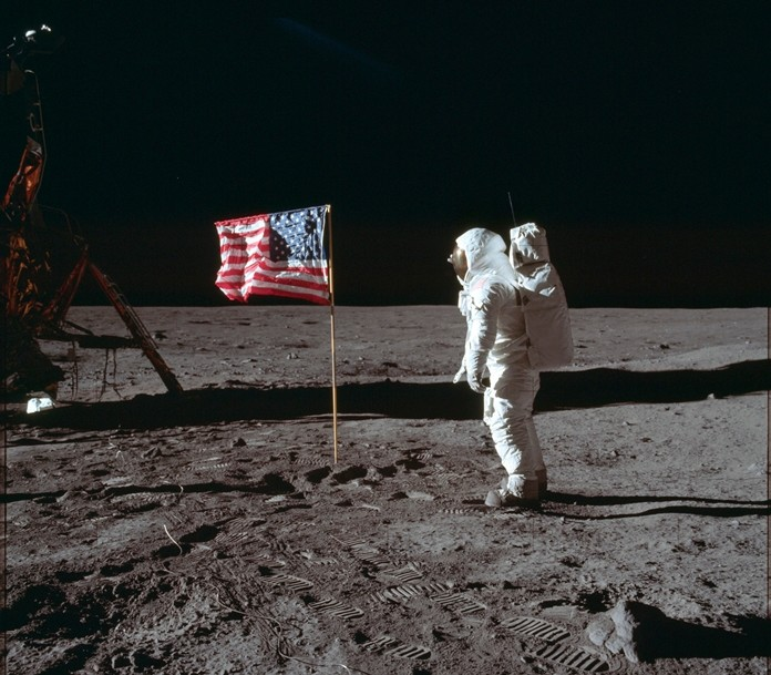 Astronaut Buzz Aldrin Jr. poses for a photograph beside the U.S. flag on the moon during the Apollo 11 mission July 20, 1969. (Neil Armstrong/NASA via AP)