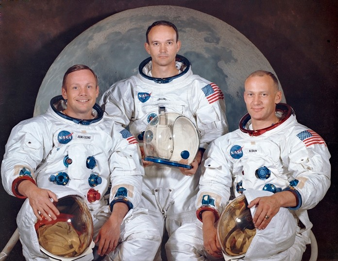 "Crew of the Apollo 11, from left, Neil Armstrong, commander; Michael Collins, module pilot; Edwin E. ""Buzz"" Aldrin, lunar module pilot. Apollo 11 was the first manned mission to the surface of the moon March 30, 1969. (NASA via AP)"