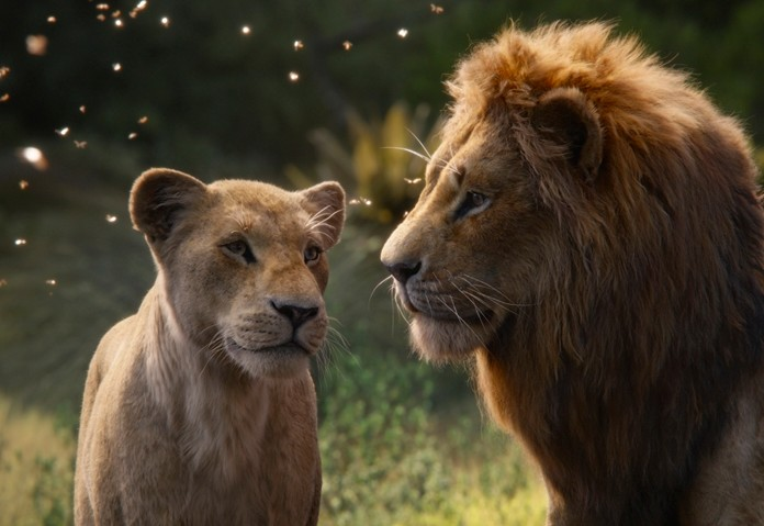 "This image shows Nala, voiced by Beyoncé Knowles-Carter (left) and Simba, voiced by Donald Glover in a scene from ""The Lion King."" (Disney via AP)"