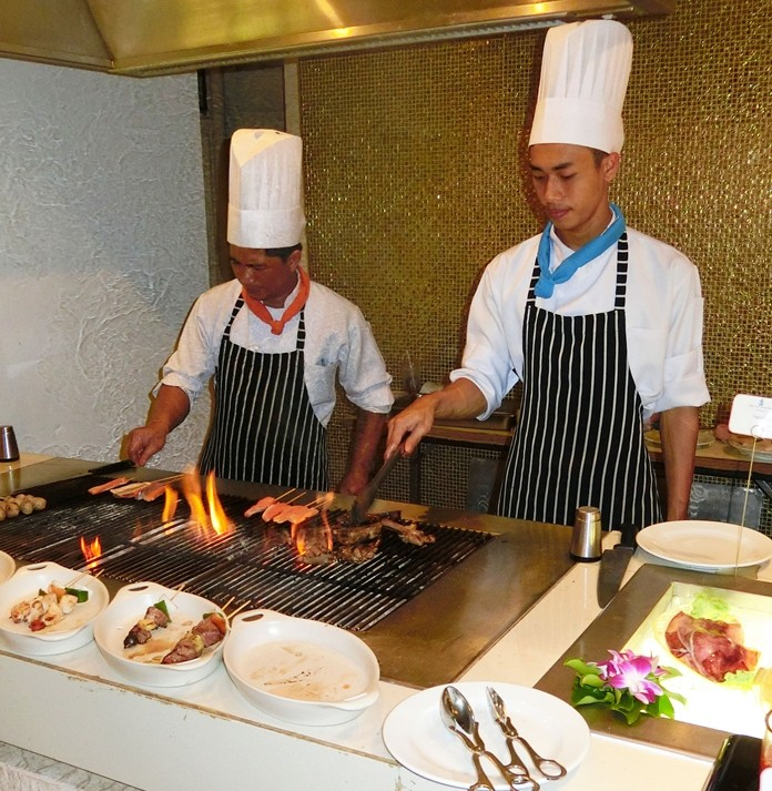 The BBQ chefs being kept busy.