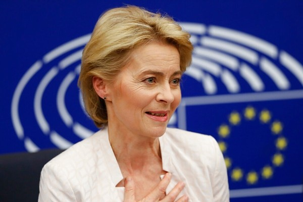 German Ursula von der Leyen talks to journalists during a news conference following her election as new European Commission President at the European Parliament in Strasbourg, eastern France, Tuesday, July 16, 2019. (AP Photo/Jean-Francois Badias)