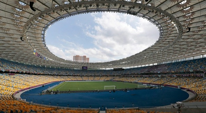 This photo from June 10, 2012 shows a general view at the Olympic national stadium in Kiev, Ukraine. (Andrey Lukatsky/AP)