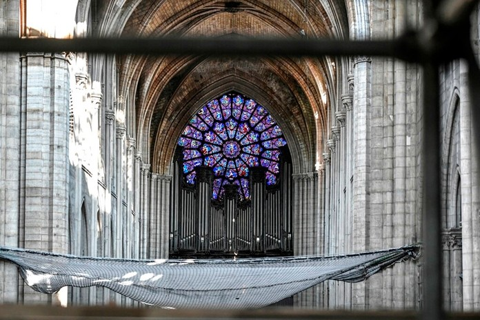 The big organ is pictured during preliminary work at the Notre-Dame de Paris Cathedral, Wednesday, July 17, 2019 in Paris. (Stephane de Sakutin/Pool via AP)