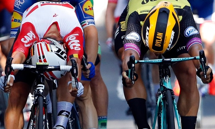 Australia's Caleb Ewan, left, and Netherlands' Dylan Groenewegen cross the finish line during the eleventh stage of the Tour de France cycling race in Toulouse, France, Wednesday, July 17, 2019. Ewan won the stage. (AP Photo/Christophe Ena)