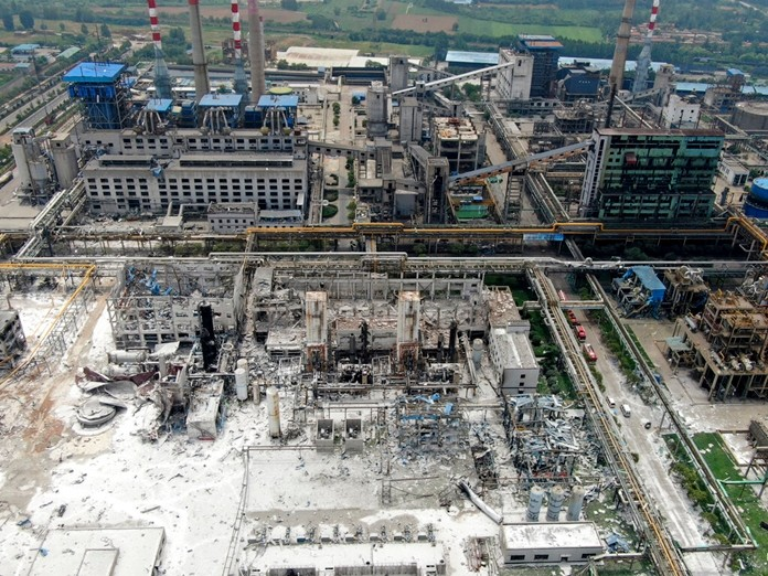 An aerial view shows the aftermath of the blast at a gas plant in Yima city in central China's Henan province Saturday, July 20, 2019. (Chinatopix via AP)