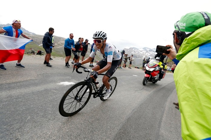 Colombia's Egan Bernal wearing the best young rider's white jersey climbs Iseran pass during the nineteenth stage of the Tour de France cycling race, Friday, July 26, 2019. (AP Photo/Thibault Camus)