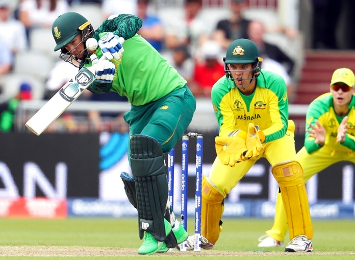 South Africa's Rassie van der Dussen plays a shot during the Cricket World Cup match between Australia and South Africa at Old Trafford in Manchester, Saturday, July 6, 2019. (AP Photo/Rui Vieira)
