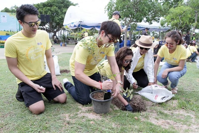 Stars of a Channel 3 soap opera and their fans joined Pattaya officials and residents in planting trees to honor HM the King.