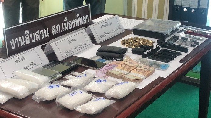 American Bart Allen Helmus and his Thai girlfriend Sirinapa Wisetrit were arrested with 988 grams of ya ice, a 22-caliber handgun, bullets and drug-packaging paraphernalia.