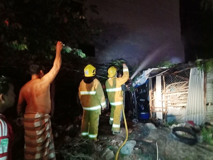 There was more smoke than fire when old tires burst into flames at an East Pattaya tool shed.