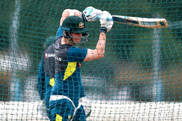 Australia's Steve Smith bats during a nets session at Edgbaston in Birmingham, England, Tuesday July 30, 2019. Australia will face off against England in their first cricket Ashes Test match starting Aug. 1. (David Davies/PA via AP)